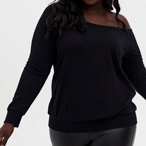 🆕Black Terry Off-Shoulder Sweatshirt 2X 18 20 NWT